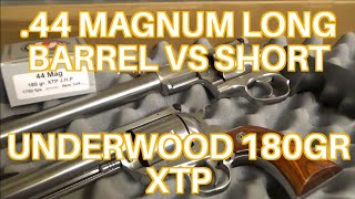 44 Magnum 180gr XTP Underwood Long Barrel vs  Short Barrel Chronograph Only