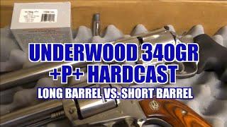Underwood 340gr +P+ Hardcast .44 Magnum Long Barrel vs. Short Barrel Review 42
