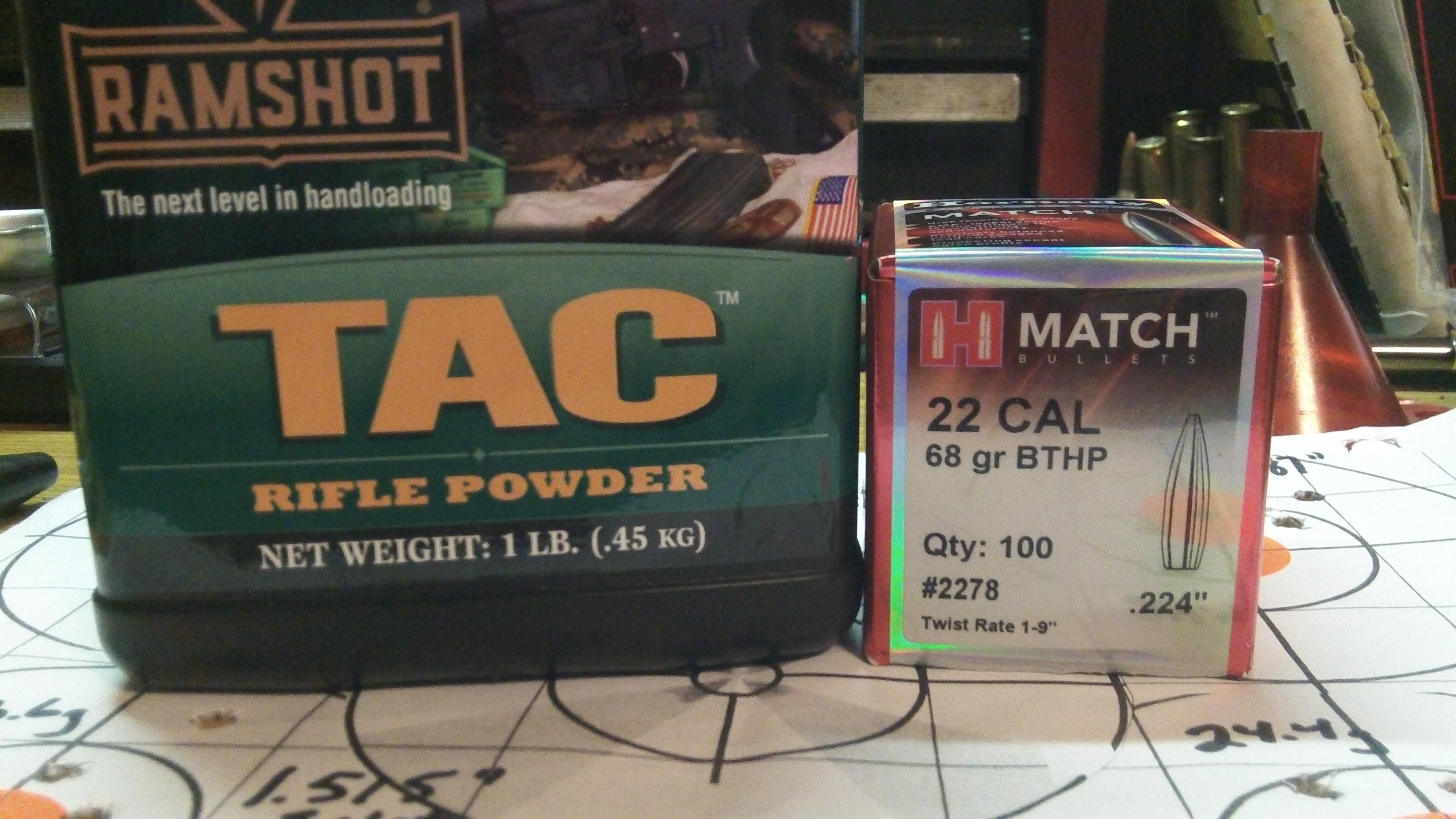 223 Rem; Ramshot TAC and Hornady 68g BTHP Match 1