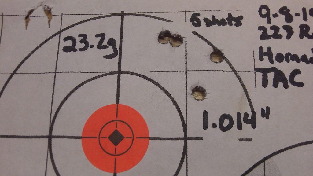 223 Rem; Ramshot TAC and Hornady 68g BTHP Match 7