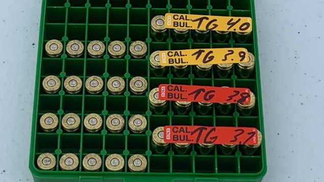 Ladder test Lee 356-125-2R 9mm bullets from MCK with Titegroup