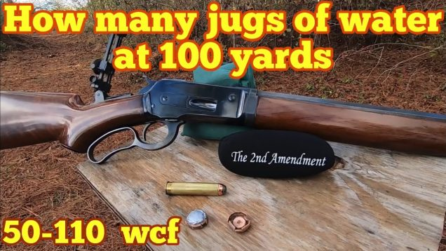 How many water jugs to stop a 50-110 WCF 300 grain Barnes bullet?