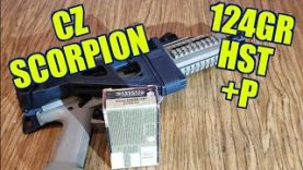 CZ SCORPION 9mm 124gr +P FEDERAL HST ballistics gel REVIEW
