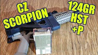CZ SCORPION 9mm 124gr +P FEDERAL HST ballistics gel REVIEW