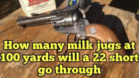 How many milk jugs will a 22 short go through at 100 yards from Ruger New Model Single 6