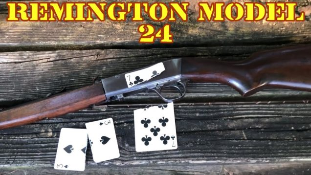 Splitting playing cards with the Remington Model 24, 22 shorts